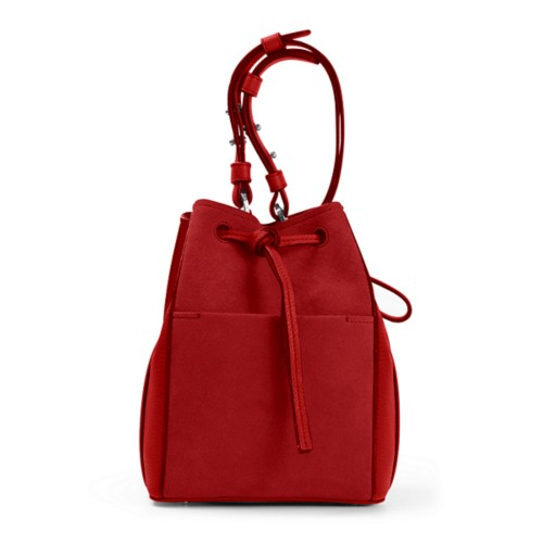 Mini bucket bag - Red - Suede Calf