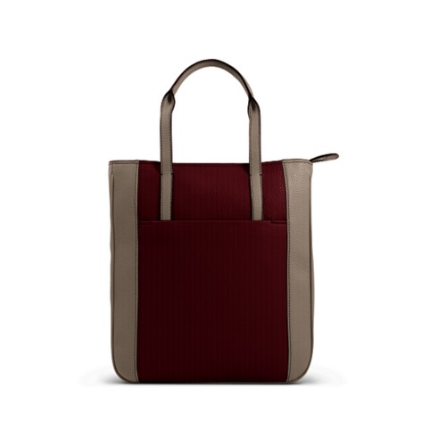 Small unisex tote bag - Burgundy-Mink - Granulated Leather