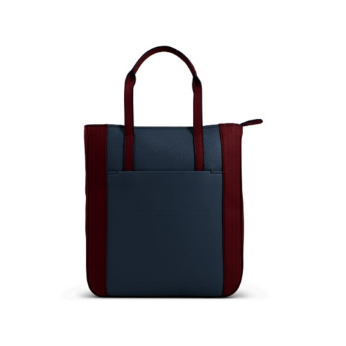 Small unisex tote bag - Navy Blue-Burgundy - Granulated Leather