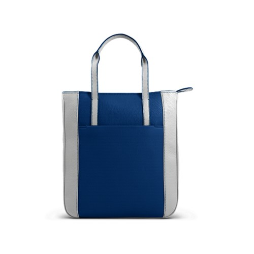 Small unisex tote bag - Royal Blue-White - Granulated Leather