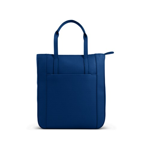 Small unisex tote bag - Royal Blue - Granulated Leather