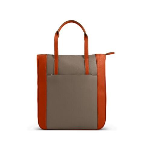Small unisex tote bag - Mink-Orange - Granulated Leather