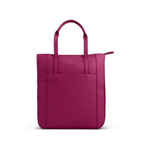 Small unisex tote bag - Fuchsia  - Granulated Leather