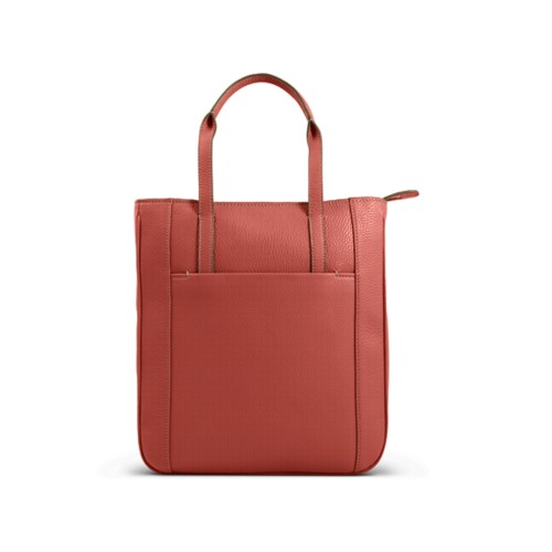 Small unisex tote bag - Coral - Granulated Leather