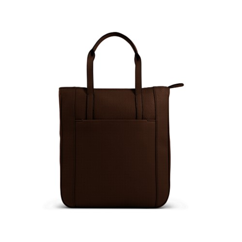 Small unisex tote bag - Dark Brown - Granulated Leather
