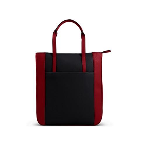 Small unisex tote bag - Black-Amaranto - Granulated Leather