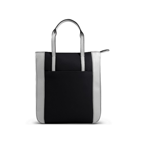 Small unisex tote bag - Black-White - Granulated Leather