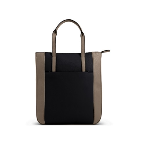 Small unisex tote bag - Black-Mink - Granulated Leather