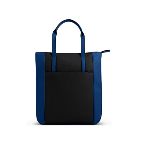 Small unisex tote bag - Black-Royal Blue - Granulated Leather