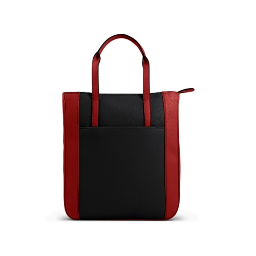 Small unisex tote bag - Black-Red - Granulated Leather