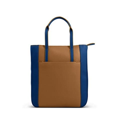 Petit tote bag unisexe - Naturel-Bleu Roi - Cuir Grainé