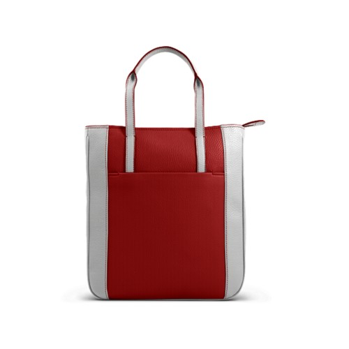 Small unisex tote bag - Red-White - Granulated Leather