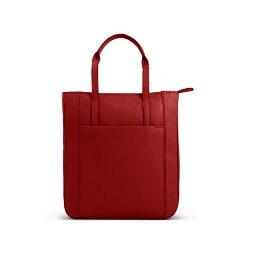 Small unisex tote bag - Red - Granulated Leather