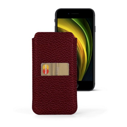 iPhone 8 pouch with pocket - Burgundy - Granulated Leather
