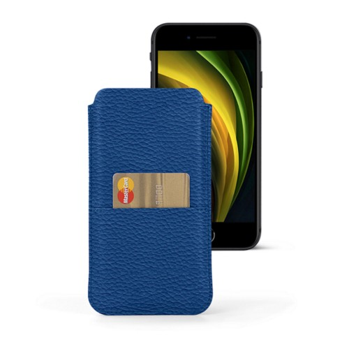 iPhone 8 pouch with pocket - Royal Blue - Granulated Leather