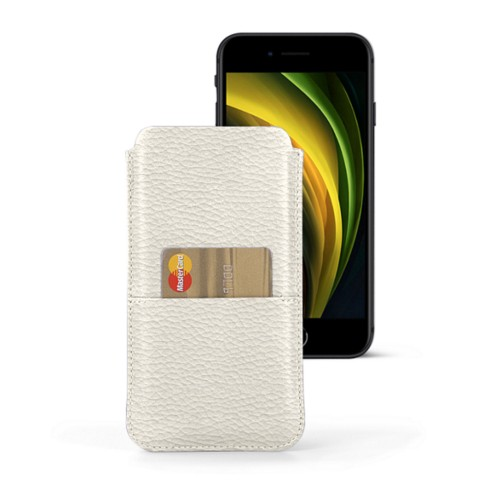 iPhone 8 pouch with pocket - Off-White - Granulated Leather