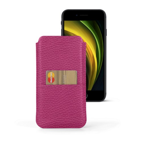 iPhone 8 pouch with pocket - Fuchsia  - Granulated Leather