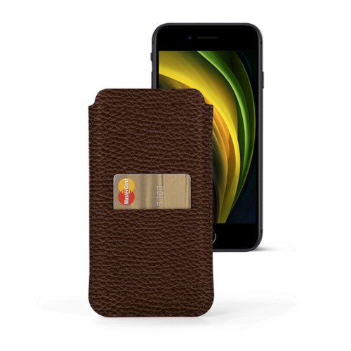iPhone 8 pouch with pocket - Dark Brown - Granulated Leather