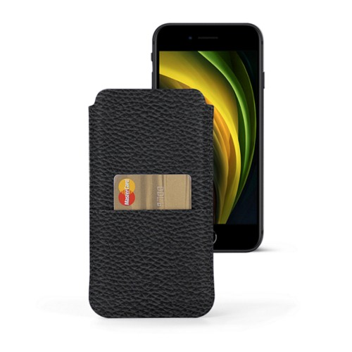 iPhone 8 pouch with pocket - Black - Granulated Leather