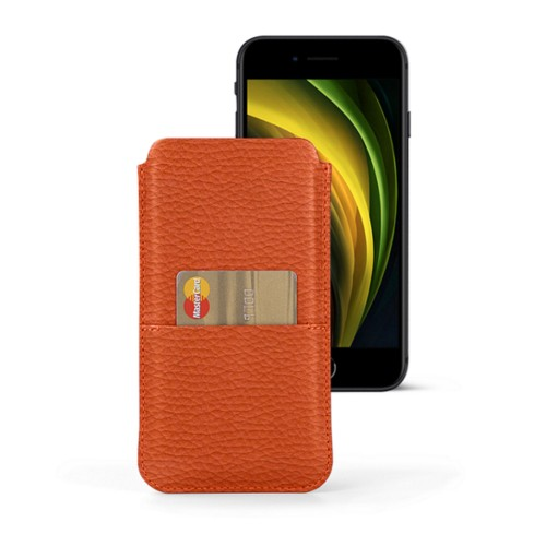 iPhone 8 pouch with pocket - Orange - Granulated Leather