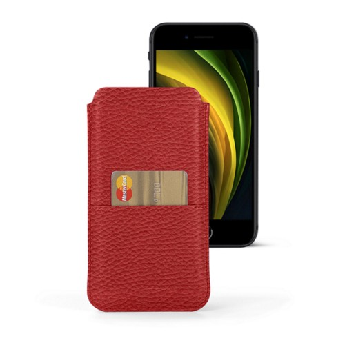 iPhone 8 pouch with pocket - Red - Granulated Leather