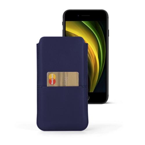 Funda para iPhone 8 con bolsillo - Azul marino  - Piel Liso
