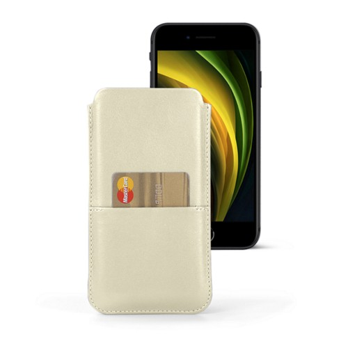 iPhone 8 pouch with pocket - Off-White - Smooth Leather