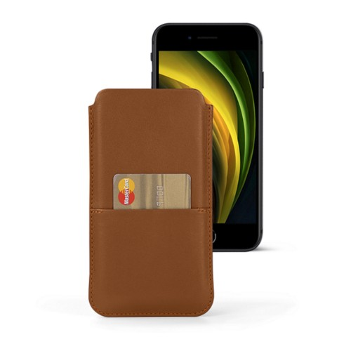 iPhone 8 pouch with pocket - Tan - Smooth Leather