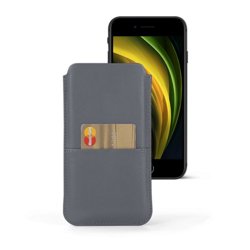 iPhone 8 pouch with pocket - Mouse-Grey - Smooth Leather