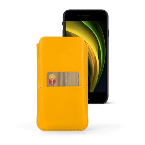 iPhone 8 pouch with pocket - Sun Yellow - Smooth Leather