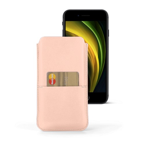 iPhone 8 pouch with pocket - Nude - Smooth Leather