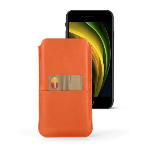 Housse iPhone 8 avec poche - Orange - Cuir Lisse