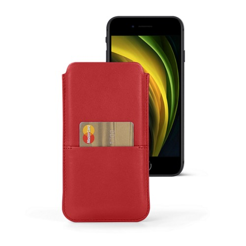 iPhone 8 pouch with pocket - Red - Smooth Leather