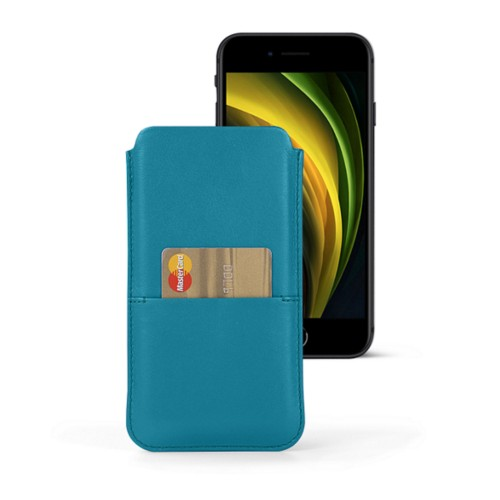iPhone 8 pouch with pocket - Turquoise - Smooth Leather