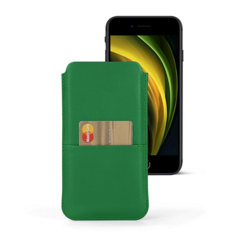 Housse iPhone 8 avec poche - Vert - Cuir Lisse