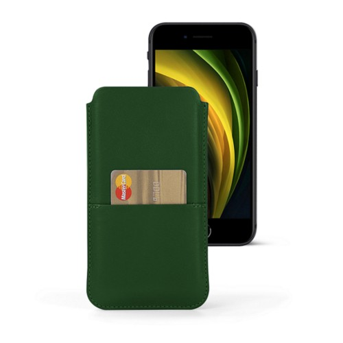 iPhone 8 pouch with pocket - Dark Green - Smooth Leather
