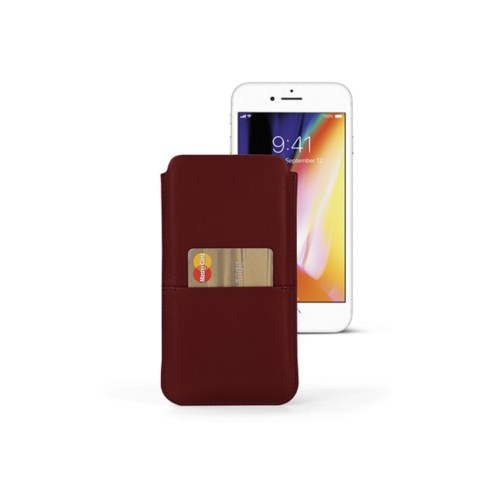 iPhone 8 Plus pouch with pocket - Burgundy - Smooth Leather
