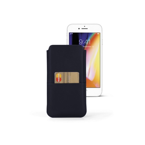 iPhone 8 Plus pouch with pocket - Navy Blue - Smooth Leather