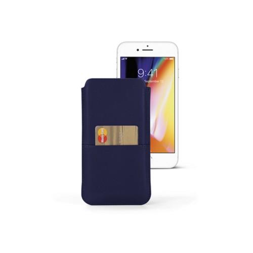 Funda para iPhone 8 Plus con bolsillo - Azul marino  - Piel Liso