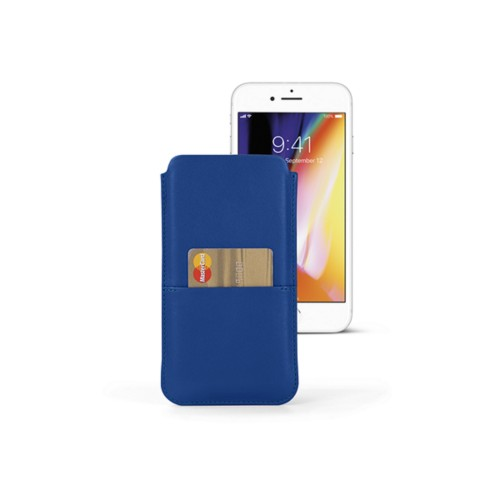 iPhone 8 Plus pouch with pocket - Royal Blue - Smooth Leather