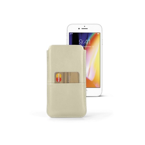 iPhone 8 Plus pouch with pocket - Off-White - Smooth Leather
