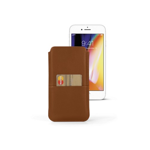 iPhone 8 Plus pouch with pocket - Tan - Smooth Leather
