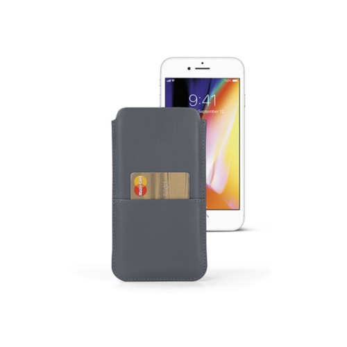 iPhone 8 Plus pouch with pocket - Mouse-Grey - Smooth Leather