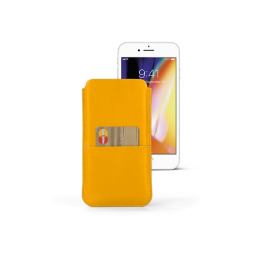 iPhone 8 Plus pouch with pocket - Sun Yellow - Smooth Leather