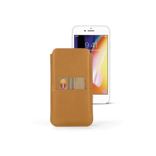 Housse iPhone 8 Plus avec poche - Naturel - Cuir Lisse