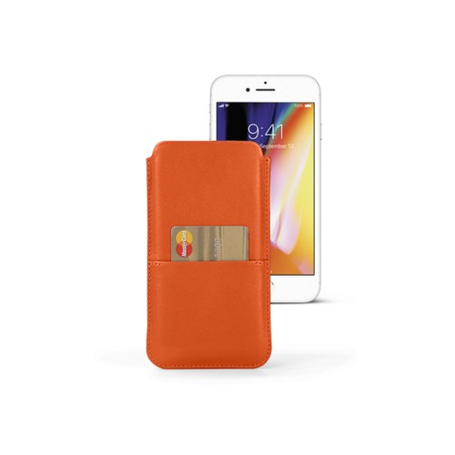 iPhone 8 Plus pouch with pocket - Orange - Smooth Leather