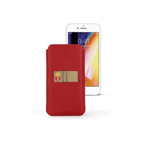 iPhone 8 Plus pouch with pocket - Red - Smooth Leather
