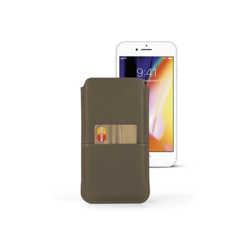 iPhone 8 Plus pouch with pocket - Dark Taupe - Smooth Leather