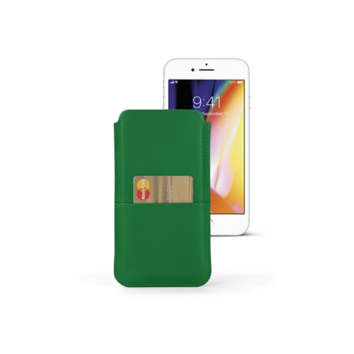 iPhone 8 Plus pouch with pocket - Light Green - Smooth Leather