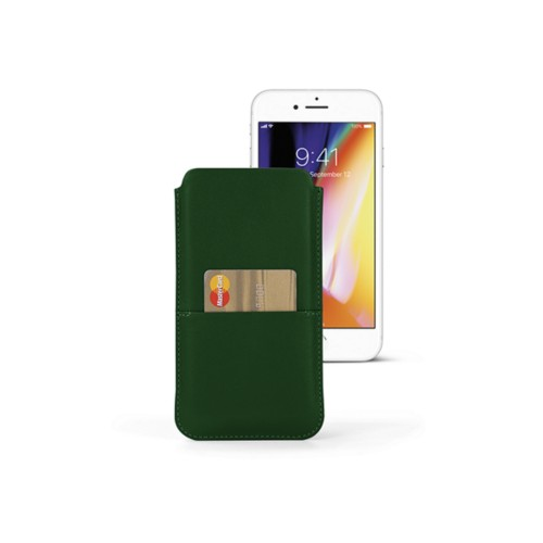 iPhone 8 Plus pouch with pocket - Dark Green - Smooth Leather